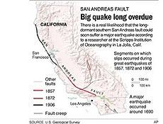 Reprodução de mapa aponta o sul da falha de San Andreas (trecho destacado em verde)