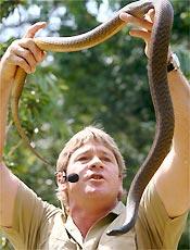 Irwin causou polêmica ao alimentar um crocodilo com o filho no colo