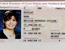 Passaporte apresentado pela libanesa à polícia