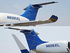 Imagem (acima) mostra Legacy avariado após choque com Boeing; abaixo, aeronave normal