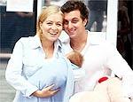 Com Joaquim e Huck na saída da maternidade
