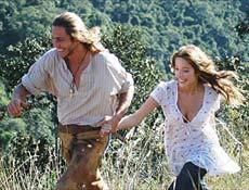 Juba (André Bankof) e Cecília (Renata Dominguez) gravam cena de fuga