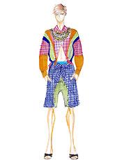 Ellus usará cores fortes e estampas no verão 2007; na foto, croqui