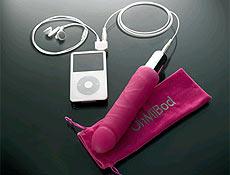 OhMiBod vai plugado no iPod e vibra de acordo com a música; o vibrador custa R$ 150