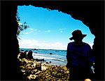 Turista na Ilha da Pedra Furada