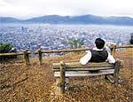 Mirante no cerro San Cristóbal, de onde se vê a cidade inteira