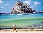 A Ilha do Chapéu vista a<br>partir da praia do Sueste