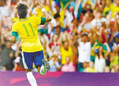 Neymar comemora seu gol na partida