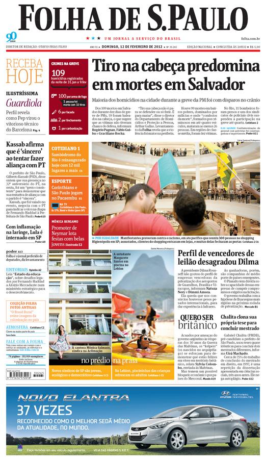 Capa Folha de S.Paulo - Edição Nacional